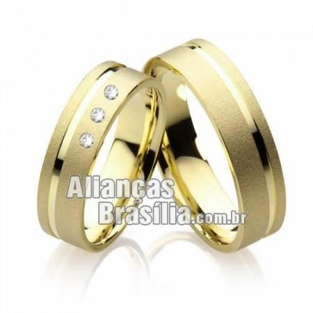 Alianças  de casamento com diamantes Df