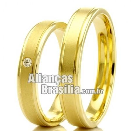 Alianças Brasilia em ouro 18k para casamento