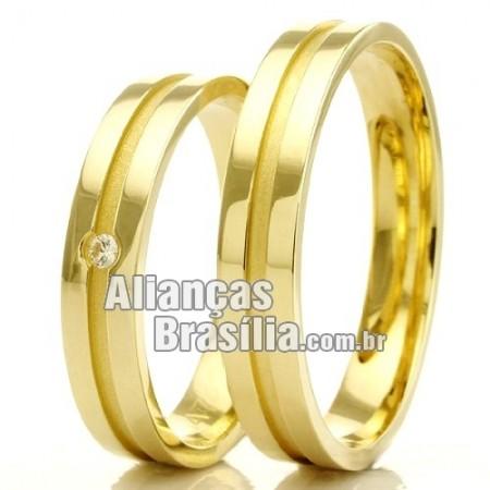 Alianças para casamento DF com diamante