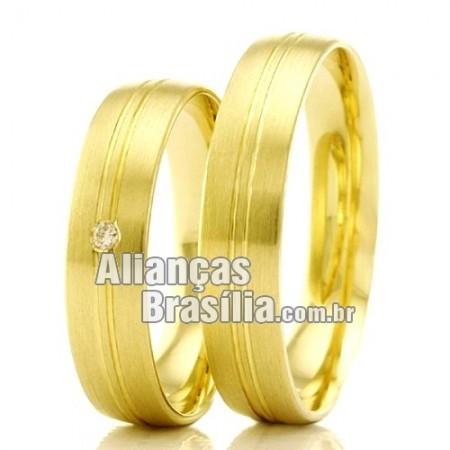 Alianças Brasilia em ouro 18k para noivado