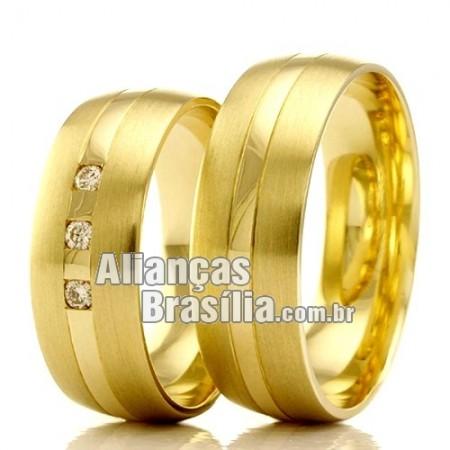 Alianças Brasilia em ouro 18k